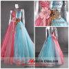 Vestido de partido de Organza/vestido de noite colorido Strapless (9677)