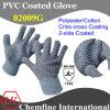 10g серый полиэстер / хлопок трикотажные перчатки с 2-х сторон черный ПВХ Criss-Cross покрытие / EN388: 124x