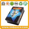 Caixa retangular de lata de DVD para crianças, caixa metálica de lata de CD
