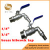1/2 3/4 BSP Rosca latón caudal de una vía de agua Válvula Bibcock
