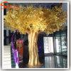Boom van de Ficussen van de Glasvezel van de Decoratie van het hotel de Gouden Kunstmatige
