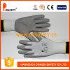 Ddsafety 2017 Weiß-Nylonzwischenlageknit-Handgelenk graue PU-überzogene Handschuhe