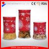 Tarro de cristal de almacenamiento de alimentos para el té Azúcar Café y galletas con acero Revestimiento de fiesta de la Navidad