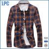 Mens-Baumwollplaid-Hemden nehmen Sitz mit Drehen-Unten Muffe ab