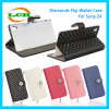 소니 Z4를 위한 다이아몬드 손가락으로 튀김 지갑 가죽 전화 상자