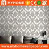 Flor clásico blanco y negro profundo de vinilo de PVC en relieve el papel tapiz