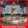 Fontana di acqua di scultura di pietra di marmo rossa di tramonto (019)