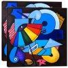 A luz abstrata de Picasso deixa projetos da pintura de parede dos olhos na arte de Giclee do poliéster e do algodão