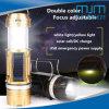 2018 Fischen-Taschenlampe populäre manuelle des Fokus-Solar/DC Ladung-Doppelt-Farben-kampierende der Laterne-LED