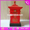 Batería de moneda de madera de la nueva del diseño dimensión de una variable roja del buzón de correos para los niños que salvan el dinero W02A263