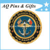3D Naval Coin mit Enamel in Gold Plated, Challenge Coin