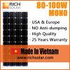 панель солнечных батарей 100W 12V Mono сделанная в Вьетнаме