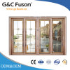 Porte coulissante en aluminium de double vitrage de profil de prix usine