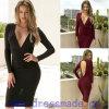 Платье карандаша Euramerican горячее сексуальное Глубокое-V Backless