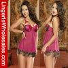 Ropa interior atractiva de señora Red Chiffon Perspective Underwear