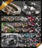 Braccialetto a cristallo, braccialetto di cuoio, braccialetti all'ingrosso dei monili (FB0115)