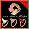 Gold überzogene Ringe mit Emaille-Katze