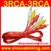 Прозрачный красный цвет 3RCA к руководству 3RCA/шнуру/проводу с штепсельными вилками глаз рыб