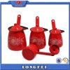 9/10/11/12cm 4PCSはふたが付いている赤いカラーエナメルのコーヒーウォーマーの鍋をセットした