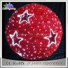 Большие напольные красные света шарика рождества с звездой