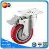 4 Zoll-Gesamtverschluss-Fußrolle, rotes Polyurethan-Rad, Schwenker-Platten-Fußrolle