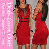 Bodycon vermelho Drees com Mesh e falso Leather Trim