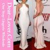 2016 Lady Fashion chaîne en or blanc Bodycon longue robe en mousseline