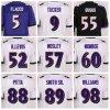 Normale bianco nero viola ed abitudine della Jersey di gioco del calcio all'ingrosso di Baltimora qualsiasi numero nome