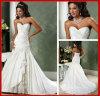 Trägerloser Hochzeits-Kleid-Spitze-Taft-Brauthochzeits-Kleid A15211