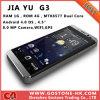 Jiayu original G2s G3 Mtk6577 se dobla cámara WiFi GPS (Jiayu G3) de la pantalla WCDMA 3G 8.0MP del IPS del teléfono móvil elegante 4.5 del androide 4.0 de la ROM 4G del RAM 1g de la base 1.0GHz ''