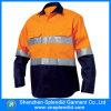 100%년 면 높은 시정 주황색 일 긴 소매 안전 셔츠