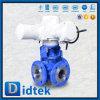 Robinet à tournant sphérique pneumatique pétrochimique de voie de l'acier du carbone de Didtek Wcb 3