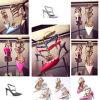 Saltos colocados saltos do couro do parafuso prisioneiro das sapatas das cintas dos fabricantes de sapatas do salto elevado das mulheres da forma elevada mulheres coloridas