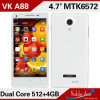 OEM Mtk6572 Dual Core Smart Phone Vk A88 512RAM+4G ROM 4.7 Inch Qhd IPS Screen Android 4.2.2 GPS 3G Unlocked Mobile Phone