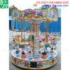 Езда Carousel мест парка атракционов 6, монетка привелась в действие Carousel
