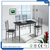 Tabela de jantar superior do retângulo Foldable preto do PVC do MDF da cor com as cadeiras ajustadas