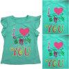 T-shirt à tricoter fille, T-shirt à la mode fille avec imprimé dans la vente chaude