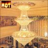 Lampe pendante en cristal d'or de luxe du projet K9 d'hôtel (AQ7020)