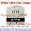 4 USB Charging Wall Socket Input AC110- 250V /Output 5V 3A 4USB Universal Socket