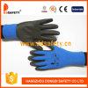 Polyester Ddsafety 2017 Nylon avec des gants de protection de la mousse de latex fini ondulée