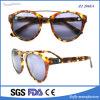 Óculos de sol italianos do acetato da alta qualidade do projeto da ponte dobro do metal para unisex