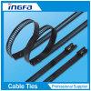 Strichleiter-multi Widerhaken-Verschluss-Typ Edelstahl-Kleber-überzogene Kabelbinder