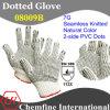 7g Natural Color Полиэстер / Cottonknitted перчатка с 2-х сторон черный ПВХ точек / EN388: 112X