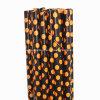 Alimento Grade Orange/Black Polka DOT Paper Straws para Víspera de Todos los Santos Party