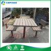 Tabla de comida campestre del diseño de calle de los muebles del marco al aire libre único del metal y banco de madera plásticos (FY-047H)