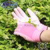 Сада повелительниц ладони PU полиэфира Nmsafety перчатка розового покрытого работая