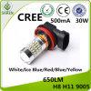 Iluminação 30W 9005 12-24V 500mA da luz do carro do diodo emissor de luz do CREE auto