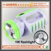 Nachladbare Taschenlampe 1W mit 12 SMD LED Tisch-Lampe (SH-1955A)