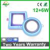Круглые или квадратные двойной цвет встраиваемый светильник акцентного освещения (12+6) Вт Светодиодные лампы панели управления