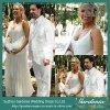 GV branco Long Chiffon Pregnant Plus Size Wedding Dress de Bridal Gown com Baby Pocket (GDNY165)